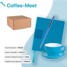 Набор подарочный COFFEE-MEET: бизнес-блокнот, ручка, чайная/кофейная пара, коробка, стружка, голубой