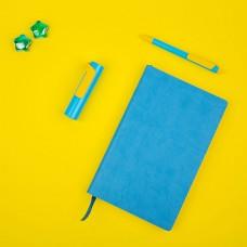 Набор COLORSPRING: аккумулятор, ручка, бизнес-блокнот, коробка со стружкой, голубой/желтый