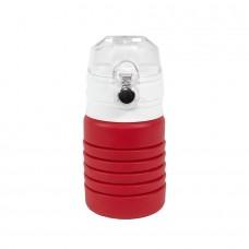 Бутылка для воды складная с карабином SPRING; красная, 550/250 мл,  силикон