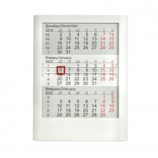 Календарь настольный на 2 года; белый; 13 х16 см; пластик; тампопечать, шелкография